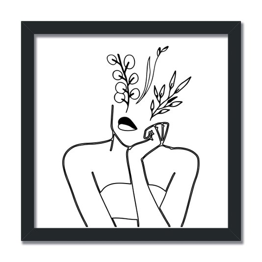 Quadro Decorativo Silhueta Mulher Pensativa Traços