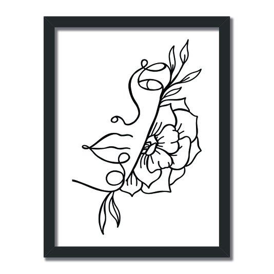 Quadro Decorativo Silhueta Perfil Com Flores