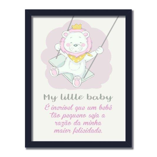 "Quadro Decorativo Urso Com Coroa Frase: ""My Little Baby"""