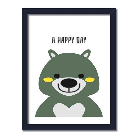 """Quadro Decorativo Urso Frase: """"A Happy Day"""""""