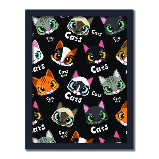 """Quadro Decorativo Vários Gatos Frase: """"Cats"""" Preto"""
