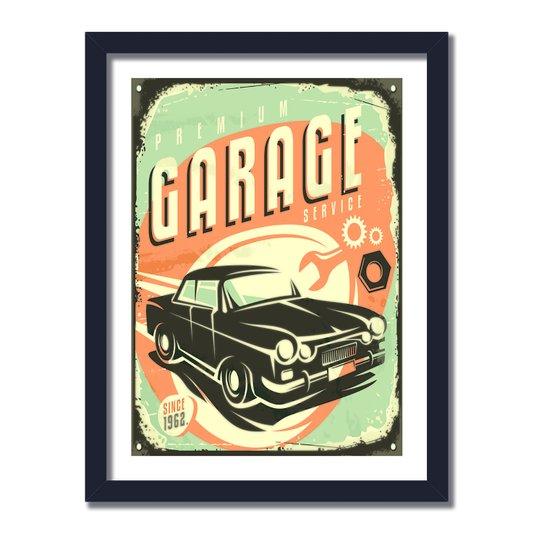Quadro Decorativo Vintage Premium Garage Service