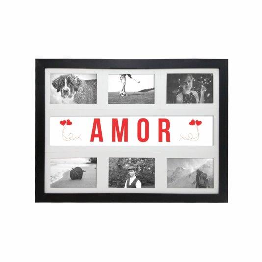 Quadro Painel de Parede para 6 fotos 10x15cm - Amor