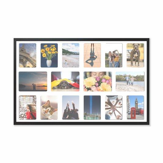 Quadro Painel de Parede para 4 fotos 15x21cm e 12 fotos 13x18cm