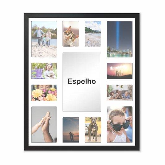 Quadro  Painel de Parede para 4 fotos 15x21cm e 8 fotos 10x15cm Com Espelho