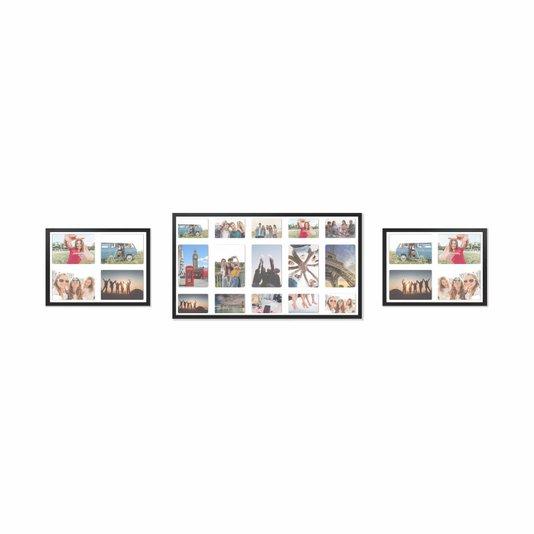 Kit Trio de Quadros Painéis de Parede para 13 fotos 15x21cm e 10 fotos 10x15cm