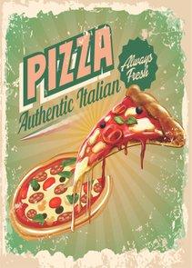 Placa Decorativa Vintage Pizza Authentic Italian