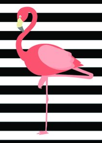 Placa Decorativa Flamingo com Fundo Preto e Branco
