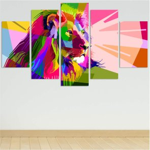 Composição de Placas Leão Geométrico e Colorido