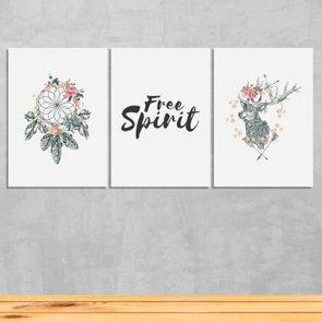 "Kit 3 Placas Frase: ""Free Spirit"" Boho Style"