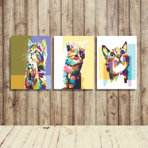 Kit 3 Placas Gatos Pop Art Colorido