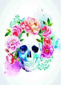 Placa Decorativa Crânio Cheio de Flores