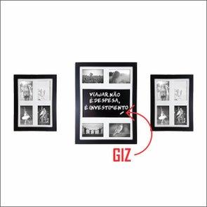 Kit de Quadros Painéis 12 Fotos Blackboard QPL35.BLACK