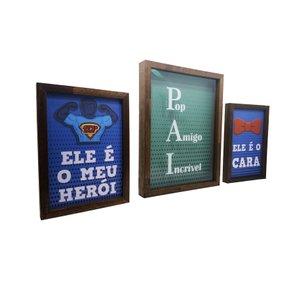 Kit Quadros com Porta Rolhas ou Tampinhas Pai Pop, Amigo, Incrível, o Cara, Herói
