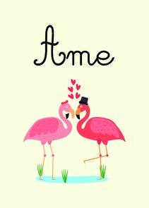 """Placa Decorativa Dois Flamingos Apaixonados Frase: """"Ame"""""""
