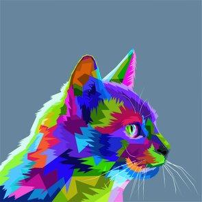Placa Decorativa Gato Fofo Pop Art  e Colorido Cinza