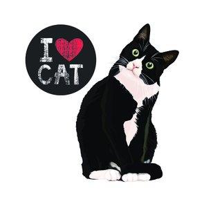 "Placa Decorativa Gato Frase: ""I Love Cat"""