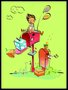 Placa Decorativa Infantil Menino Brincando na Caixa de Correio