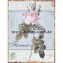 Placa Decorativa Vintage Flowers