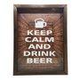 Quadro Porta Tampinhas Keep Calm And  Drink Beer
