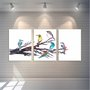 Kit Trio de Placas Pássaros Aves Watercolor