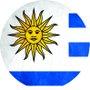 Placa Decorativa Redonda Bandeira do Uruguai