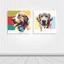 Kit 2 Placas Cachorros Pop Art Colorido