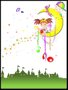 Placa Decorativa Infantil Menina na Lua