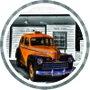 Placa Decorativa Redonda Táxi Vintage