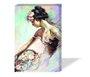 Quadro Painel em Tecido Canvas Pintura Mulher com Cesto de Flores