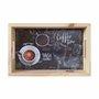 Bandeja de Café da Manhã Decorativa com Alça Reta e Frase Fresh Beans Fundo Escuro