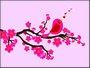 Placa Decorativa Moderna Pássaro e flores