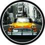 Placa Decorativa Redonda Táxi Nova York