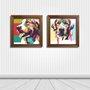 Kit 2 Quadros Cachorros Pop Art Colorido
