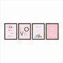 Kit 4 Quadros Decorativos Para Quart Infantil com Nome da Criança Personalizado