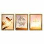 Kit de 3 Quadros Decorativos Deus Abençoe Quem Entra Nessa Casa, Dê Paz Para Quem Fica e Proteja Quem Sai