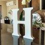 Letra Decorativa H 15cm em Mdf Laqueado 15mm - Branco