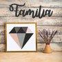 Palavra Decorativa Família Lettering Para Parede - Laqueado 6mm