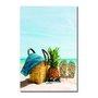 Placa Decorativa Coleção Mar Chinelo, Abacaxi E Bolsa De Praia