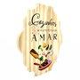 Placa Decorativa de Cozinha em Pinus Cozinhar é Uma Forma de Amar