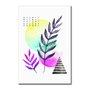Placa Decorativa Geométrico Folhas Coloridas