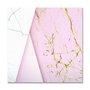 Placa Decorativa Geométrico Marmore Branco Com Rosa
