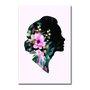 Placa Decorativa Silhueta de Mulher com Flores