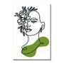Placa Decorativa Silhueta Rosto Com Flores Verdes