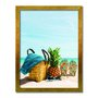 Quadro Decorativo  Coleção Mar Chinelo, Abacaxi E Bolsa De Praia