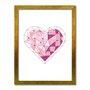 Quadro Decorativo Coração Geométrico Tons de Rosa