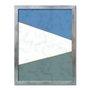 Quadro Decorativo Geométrico Azul Com Cinza