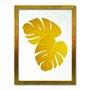 Quadro Decorativo Geométrico Folha De Adão Dourada