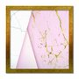 Quadro Decorativo Geométrico Marmore Branco Com Rosa