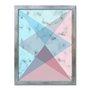 Quadro Decorativo Geométrico Rosa Com Azul